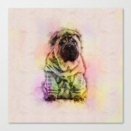 Shar-Pei puppy Sketch Digital Art Canvas Print