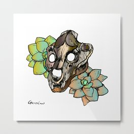 Lion & Succulents Metal Print