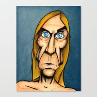 iggy pop Canvas Prints featuring Iggy Pop by Andres Denkberg