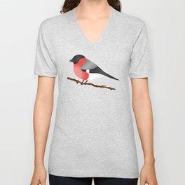 Cute Eurasian Bullfinch Cartoon Bird Illustration On Gray Unisex V-Neck