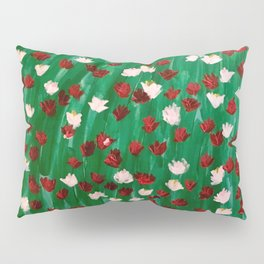 Red and White Flowers on Green Grass Pillow Sham