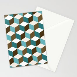 Cubes Pattern Teals Browns Cream White Stationery Cards