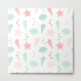 cute colorful summer pattern with seashells and starfishes Metal Print