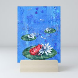Red Frog on Lily Pad Mini Art Print