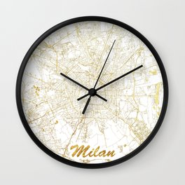 Milan Map Gold Wall Clock