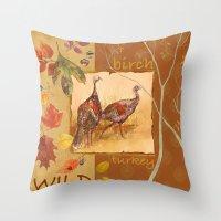 turkey Throw Pillows featuring Wild Turkey by Edith Jackson-Designs