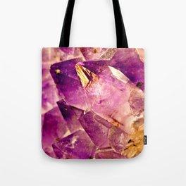 Golden Gleaming Amethyst Crystal Tote Bag