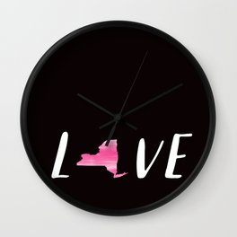 Love New York : Pink Watercolor on Black Wall Clock