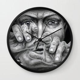 untitled - charcoal drawing Wall Clock