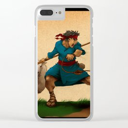 Before he fought Giants he fought lions (colored version) Clear iPhone Case