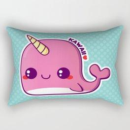Kawaii Pink Narwhal Rectangular Pillow