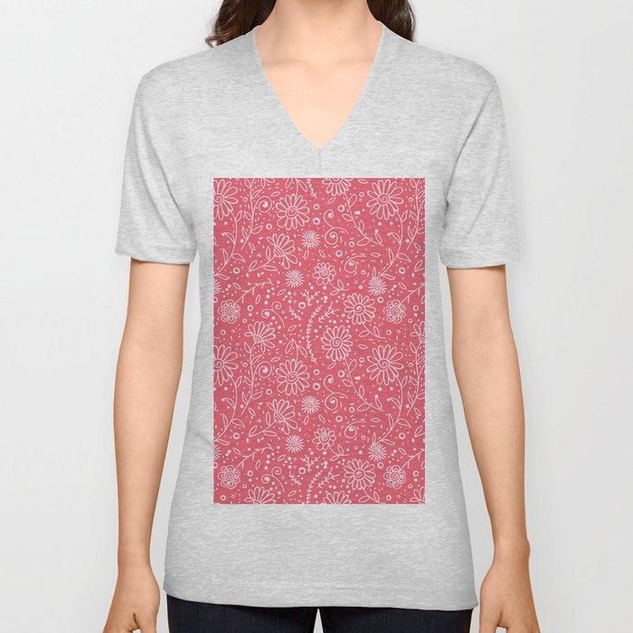 Red doodle floral pattern Unisex V-Neck