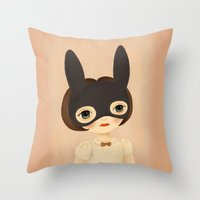 bunny Throw Pillows featuring Bunny by The Midnight Rabbit