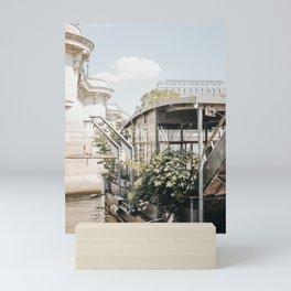 Parisian River Boat Bistro, Green Lush Houseboat, Seine River   iconic travel photography to inspire, Saige Ashton Prints Mini Art Print