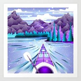 Pastel Canoeing Art Print