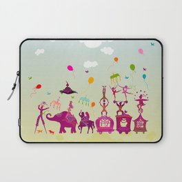 colorful circus carnival traveling in one row during daylight Laptop Sleeve