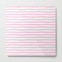 Pink Hand Drawn Horizontal Stripes Metal Print