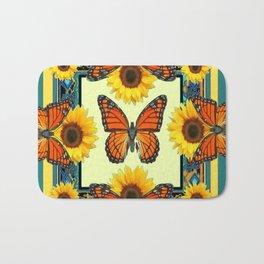 Teal & Orange Monarch Butterflies  Sunflower Patterns Art Bath Mat
