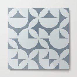 Abstract Pastel Blue Circles Modern Mid Century Geometric Pattern Scandinavian Rustic Interior Metal Print