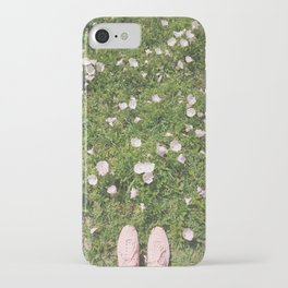 Pink Flower Field   In Light Pink Sneakers In The Park   Pictures With Weekend Vibes iPhone Case