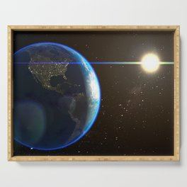 Night Lighted Earth from space Serving Tray
