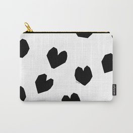 Love Yourself no.2 - black heart pattern love art black and white illustration Carry-All Pouch