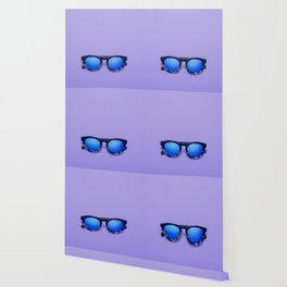 Blue Lens Sunglasses on a Purple Background Wallpaper