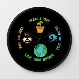 Help more bees plant more trees clean the seas Wall Clock