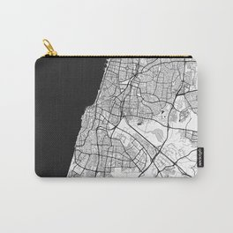Tel Aviv Map Gray Carry-All Pouch