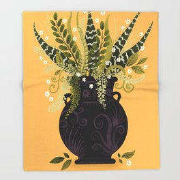 Black Vase I Throw Blanket