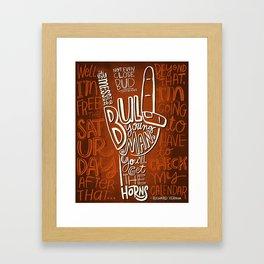 Mess With The Bull (orange) Framed Art Print