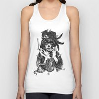skull Tank Tops featuring Chicana by Rudy Faber