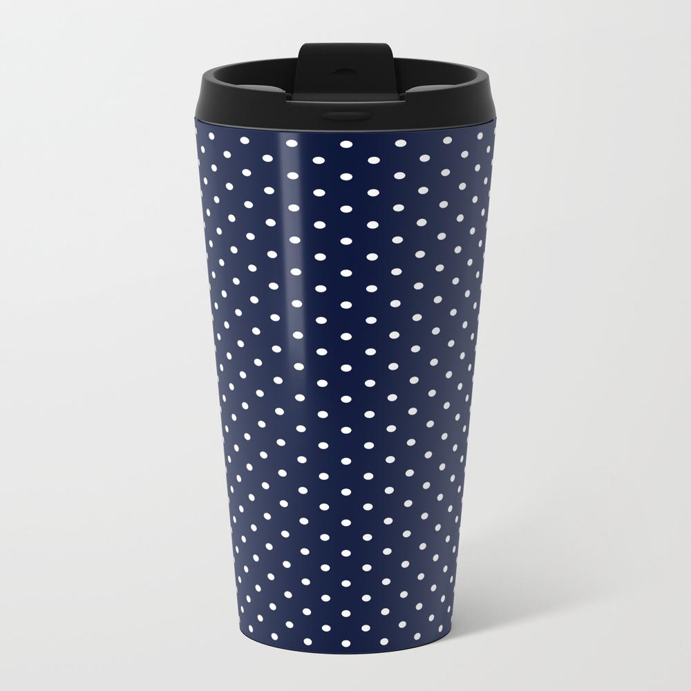 White Dots On Indigo Ink Pattern Travel Mug TRM8749642