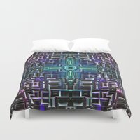 sci fi Duvet Covers featuring Sci Fi Metallic Shell by Phil Perkins
