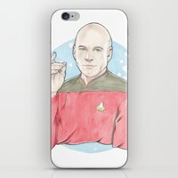 picard iPhone & iPod Skins featuring Captain Jean-Luc Picard of the Starship Enterprise by A Rose Cast
