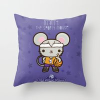 matty healy Throw Pillows featuring Matty the Sporty Mouse by Squid&Pig