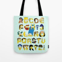 simpsons Tote Bags featuring Simpsons Alphabet by Mike Boon