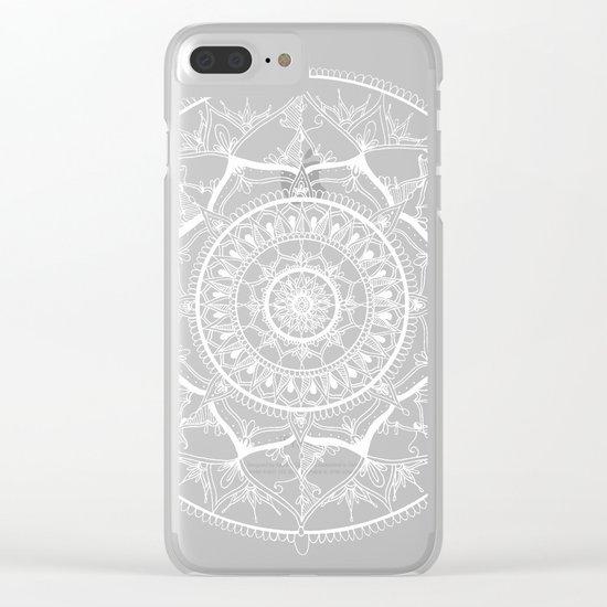 White Circle Mandala on Blue Watercolour Clear iPhone Case