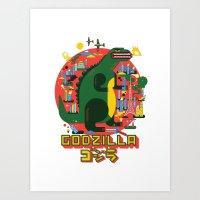 godzilla Art Prints featuring GODZILLA by Katboy 7