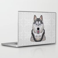 husky Laptop & iPad Skins featuring Happy Husky by ArtLovePassion