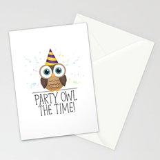 Party Owl The Time Stationery Cards