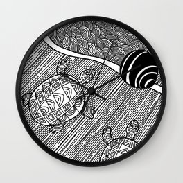 Struggle Of The Turtle To The Sea Black and White Wall Clock
