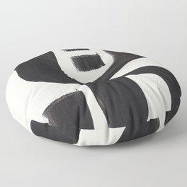 Mid Century Modern Minimalist Abstract Art Brush Strokes Black & White Ink Art Alien Symbol Pattern Floor Pillow