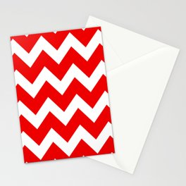 Chevron Red White Stationery Cards