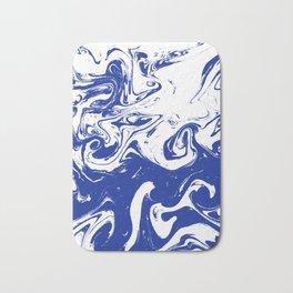 Marble blue 4 Suminagashi watercolor pattern art pisces water wave ocean minimal design Bath Mat