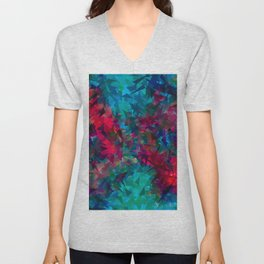 psychedelic geometric triangle abstract pattern in pink red blue Unisex V-Neck