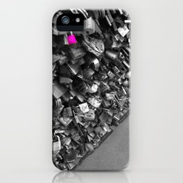 Paris pink love lock black and white with color iPhone Case