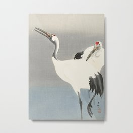 Two Cranes - Vintage Japanese Woodblock Print Art Metal Print