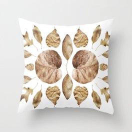 DRIED LEAVES COLLAGE Throw Pillow