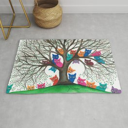 Connecticut Whimsical Cats in Tree Rug